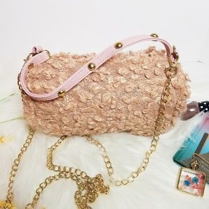 Handbags - Mini Dusty Rose Pink Furry Purse New
